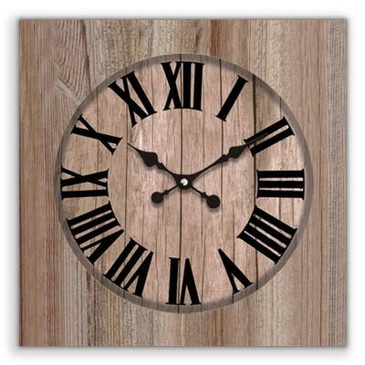 Time Gold - Time Gold Romen Rakamlı Kahverengi Uludağ Ahşap Kare Duvar Saati