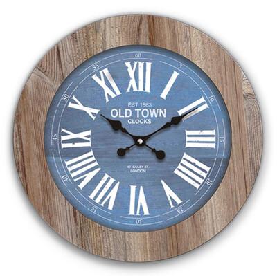 Time Gold - Time Gold Romen Rakamlı Mavi Eskitme Ilgaz Ahşap Duvar Saati