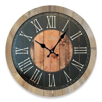 Time Gold Romen Rakamlı Modern Ahşap Duvar Saati 32cm