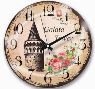 Time Gold - Time Gold Royal Color Galata Kulesi Motifli Bombeli Yuvarlak Cam Duvar Saati