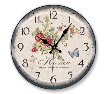 Time Gold Sera Home Yazılı Çiçek ve Kelebek Desenli Yuvarlak Duvar Saati