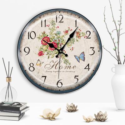 Time Gold Sera Home Yazılı Çiçek ve Kelebek Desenli Yuvarlak Duvar Saati - Thumbnail