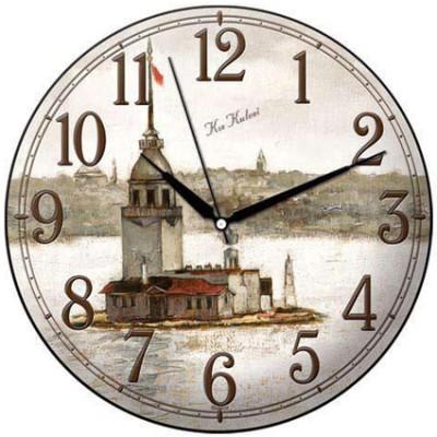 Time Gold - Time Gold Sera Kız Kulesi Motifli Bombeli Yuvarlak Cam Duvar Saati