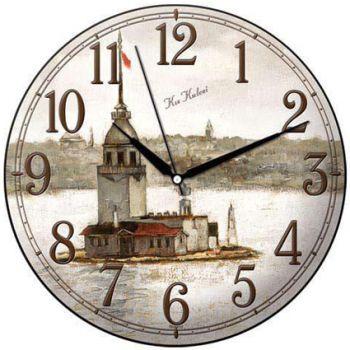 Time Gold Sera Kız Kulesi Motifli Bombeli Yuvarlak Cam Duvar Saati