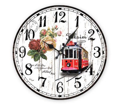 Time Gold - Time Gold Taksim Yazılı Nostaljik Tramvay Desen Yuvarlak Duvar Saati