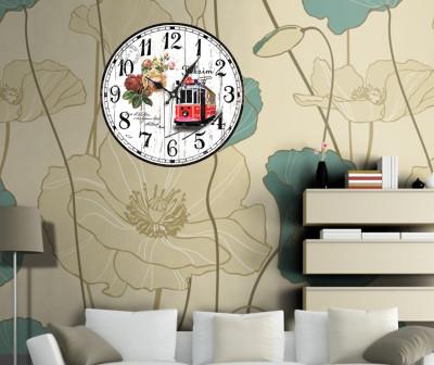 Time Gold Taksim Yazılı Nostaljik Tramvay Desen Yuvarlak Duvar Saati - Thumbnail