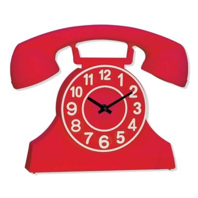 Time Gold - Time Gold Telefon Şeklinde Plastik Gövde Duvar ve Masa Saati Kırmızı