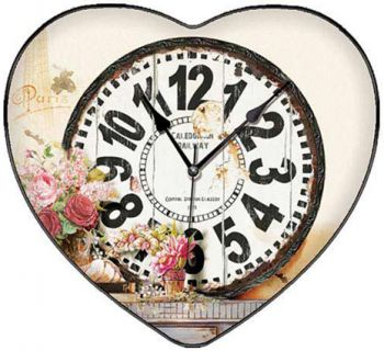 Time Gold Yasemin Paris Yazılı Bombeli Kalp Şeklinde Cam Duvar Saati