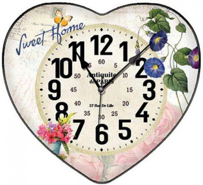 Time Gold - Time Gold Yasemin Sweet Home Yazılı Bombeli Kalp Şeklinde Cam Duvar Saati