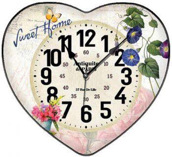 Time Gold Yasemin Sweet Home Yazılı Bombeli Kalp Şeklinde Cam Duvar Saati