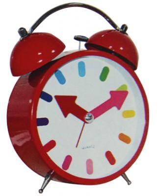 Time Gold - Time Gold Yuvarlak Gerçek Cam Metal Gövde Çalar Masa Saati Kırmızı