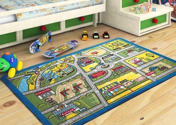 Trafik Desenli Çocuk ve Bebek Odası Oyun Halısı 100x150cm