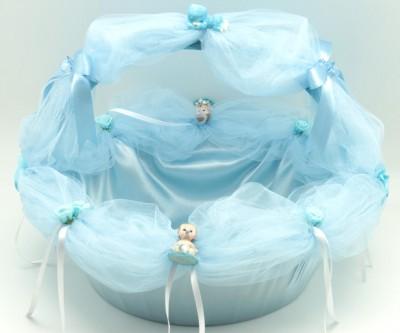 Diğer - Tüllü Bebek ve Gül Figürlü Yuvarlak Bebek ve Lohusa Şekeri Sunum Sepeti Mavi