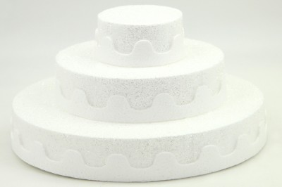 Diğer - Üç Katlı Pasta Şeklinde Köpük Şeker ve Kurabiye Standı Beyaz