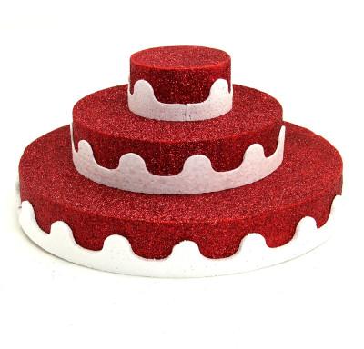 Diğer - Üç Katlı Pasta Şeklinde Köpük Şeker ve Kurabiye Standı Kırmızı