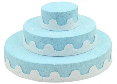 Diğer - Üç Katlı Pasta Şeklinde Köpük Şeker ve Kurabiye Standı Mavi