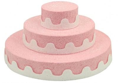 Diğer - Üç Katlı Pasta Şeklinde Köpük Şeker ve Kurabiye Standı Pembe