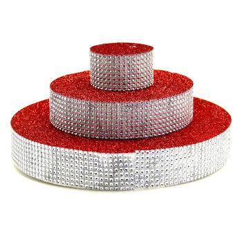 Üç Katlı Pasta Şeklinde Taş Süslemeli Köpük Şeker ve Kurabiye Standı Kırmızı
