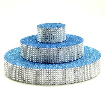 Üç Katlı Pasta Şeklinde Taş Süslemeli Köpük Şeker ve Kurabiye Standı Mavi