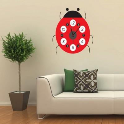 Diğer - Uğur Böceği Tasarımlı Duvara Yapışan Sticker Saat