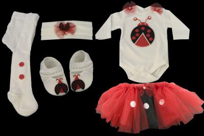 Petite Ponpon - Uğur Böcekli Tütü Etekli Kız Bebek Takımı 5 Parça