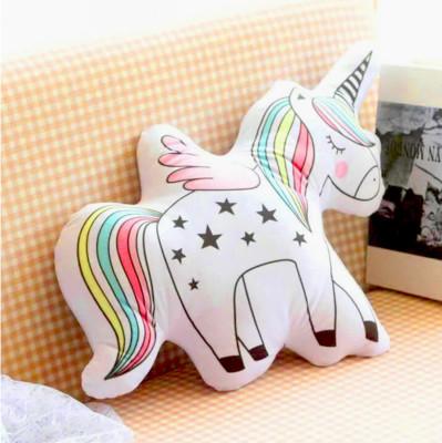 Diğer - Unicorn Boynuzlu At 3D Özel Kesim Yastık 53cm