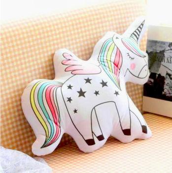 Unicorn Boynuzlu At 3D Özel Kesim Yastık 53cm