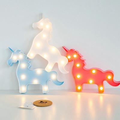 Unicorn Tasarımlı Dekoratif Pilli Led Lamba - Thumbnail