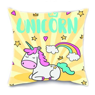 Diğer - Unicorn Tasarımlı Renkli Kırlent Yastık 35cm