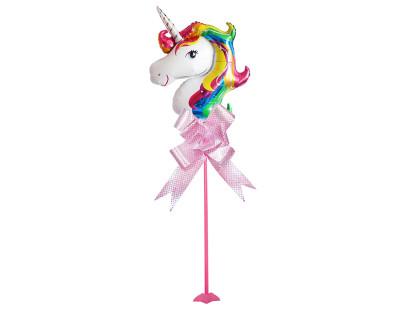 Diğer - Unicorn Temalı Parti Masa Süsü Çubuklu Folyo Balon Pembe