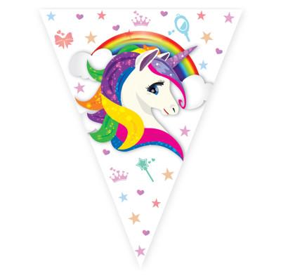 Diğer - Unicorn Temalı Üçgen Flama Bayrak
