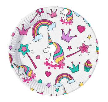 Unicorn ve Gökkuşağı 8li Kullan At Karton Parti Tabağı