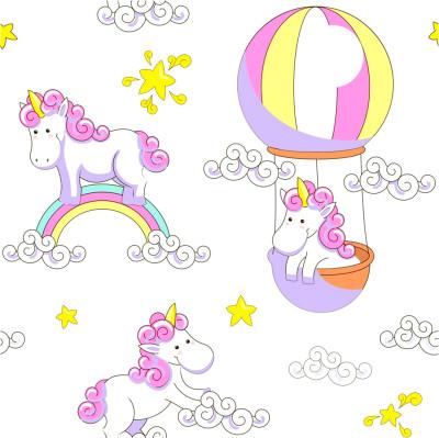 Diğer - Unicorn ve Gökkuşağı Çocuk Odası Sticker 50cm