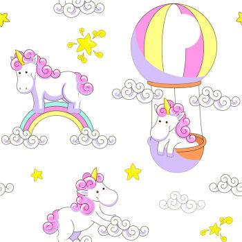 Unicorn ve Gökkuşağı Çocuk Odası Sticker 50cm