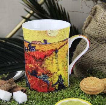 Van Gogh Kırmızı Üzüm Bağı Çizimli New Bone China Kupa
