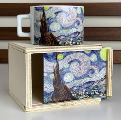 Diğer - Van Gogh Yıldızlı Gece Çizimli Ahşap Kutulu Kupa Bardak