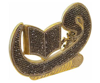Diğer - Vav Üzerine Ayetel Kürsü Swarovski Taşlı Biblo 24x29cm Gold