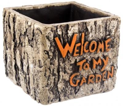 Diğer - Welcome To My Garden Yazılı Dekoratif Kare Saksı