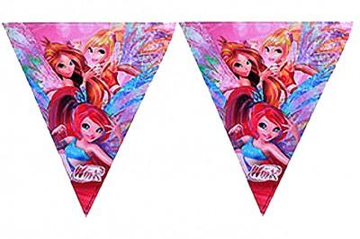 Diğer - Winx Baskılı Kız Çocuklar İçin Üçgen Flama Bayrak