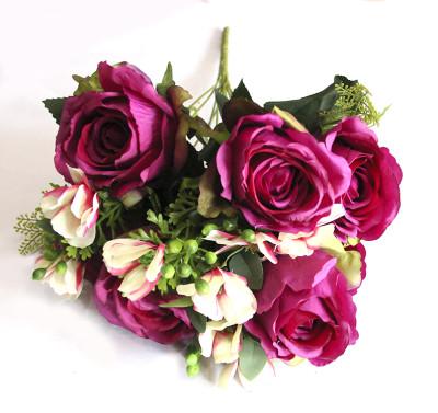 Diğer - Yapay Çiçek Dolgun Gül Demeti 50cm Koyu Pembe