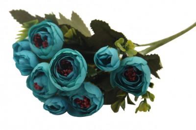 Diğer - Yapay Çiçek Gül Demeti Petrol Yeşili