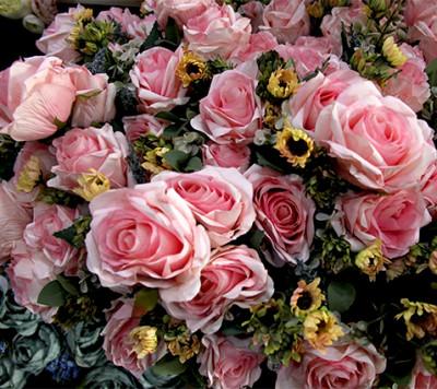 Diğer - Yapay Çiçek Papatyalı Gül Demeti 50cm Pembe