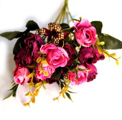 Diğer - Yapay Çiçek Pıtırcıklı Çift Renkli Gül Demeti 30cm Pembe Bordo