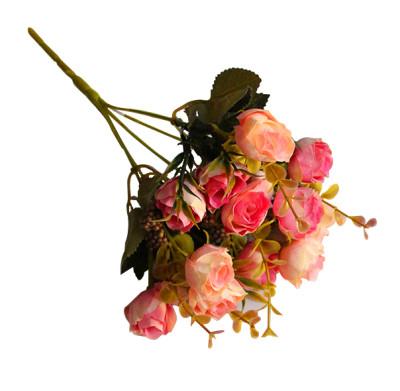 Diğer - Yapay Çiçek Pıtırcıklı Çift Renkli Gül Demeti 30cm Somon Pembe