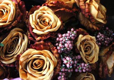 Diğer - Yapay Çiçek Pıtırcıklı Dolgun Gül Demeti 45cm Hardal