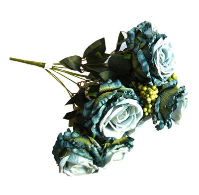 Diğer - Yapay Çiçek Pıtırcıklı Dolgun Gül Demeti 45cm Mavi