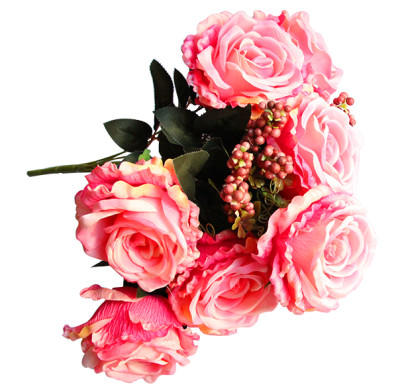 Diğer - Yapay Çiçek Pıtırcıklı Dolgun Gül Demeti 45cm Pembe
