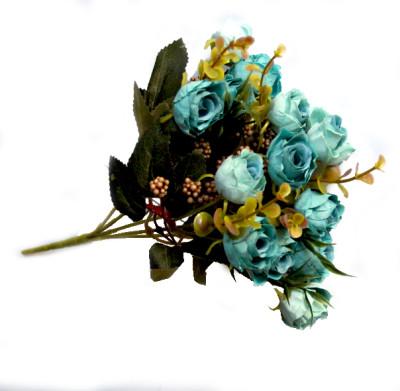 Diğer - Yapay Çiçek Pıtırcıklı Gül Demeti 30cm Mavi