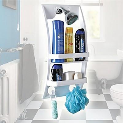 Diğer - Yapışkanlı ve Duş Askılı Pratik Banyo Rafı Beyaz
