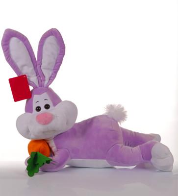 Diğer - Yatan Havuçlu Tavşan Peluş Oyuncak 50cm Lila